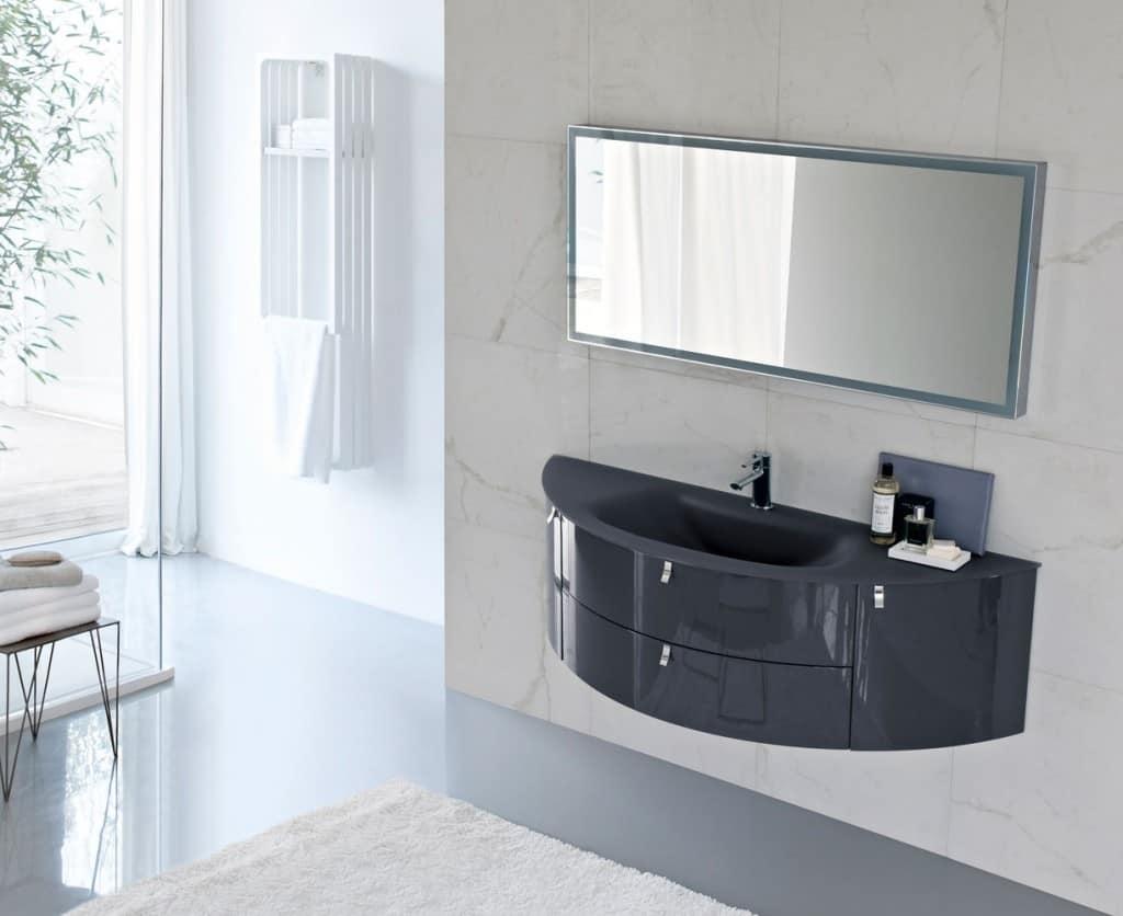 Mobile da bagno a mezzaluna con top in cristallo sabbiato idfdesign - Mobile bagno fly ...