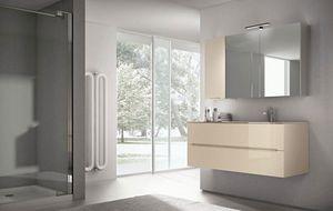 Smyle comp.01, Mobile da bagno con ampio specchio contenitore