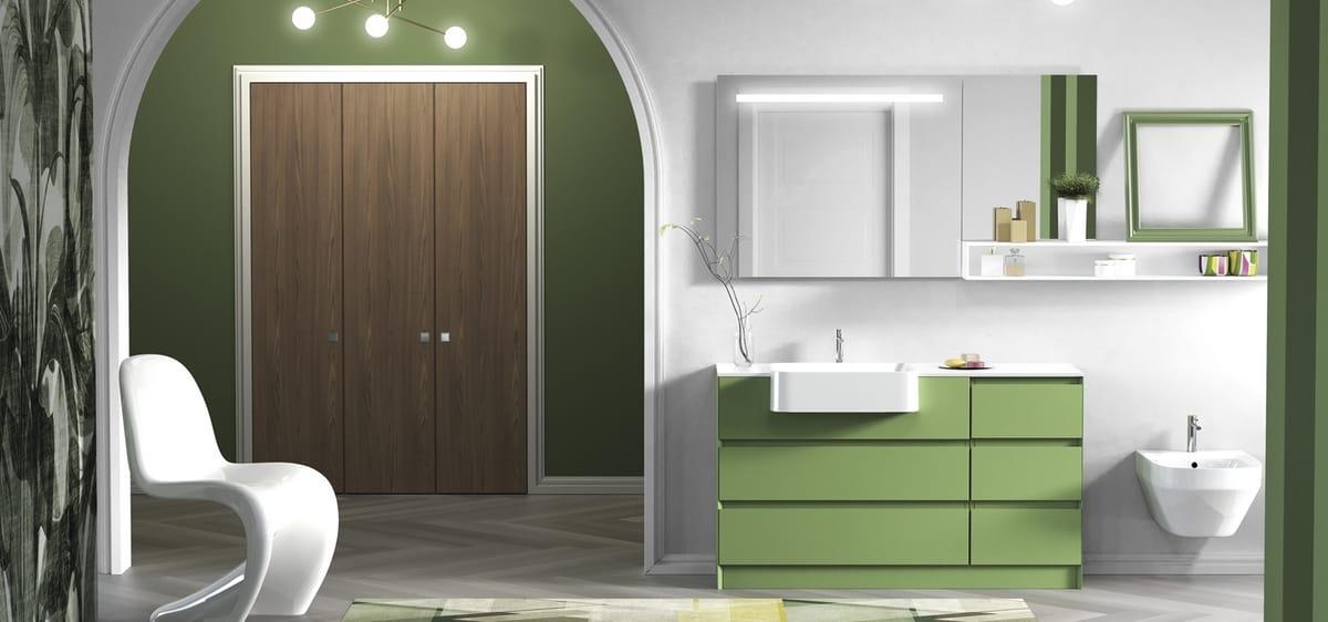 Mobile da bagno verde, con cassetti | IDFdesign