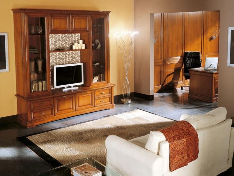 Mobile porta tv in legno massello stile classico idfdesign - Mobile porta tv classico legno ...