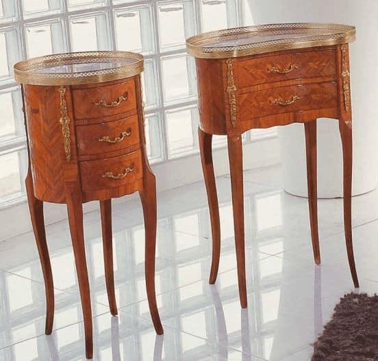 Mobiletto tondo in legno stile classico idfdesign - Mobili per ingresso classici ...