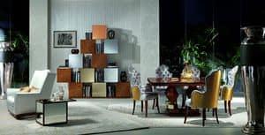 LB18-A Mondrian, Mobile componibile in legno di quercia, per salotti classici