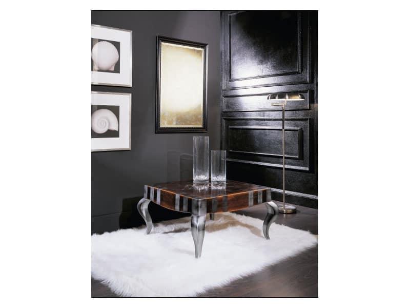 MIMì quadro tavolino 8319T, Tavolino quadrato in legno, piano decorato, per salotto