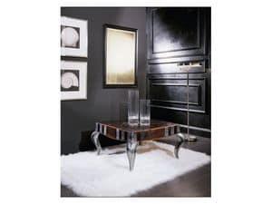 MIM� quadro tavolino 8319T, Tavolino quadrato in legno, piano decorato, per salotto