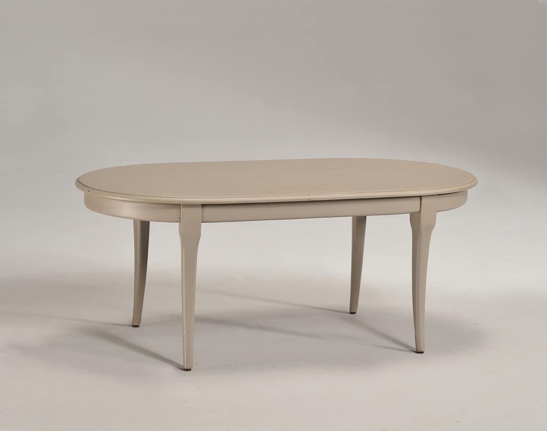 TOFFE tavolino 8179T, Tavolino ovale in legno massello, stile classico