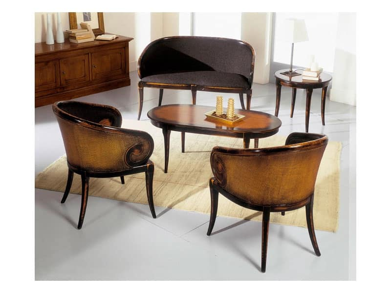 TOFFE tavolino tondo 8179TL, Tavolino rotondo in legno massello, stile classico