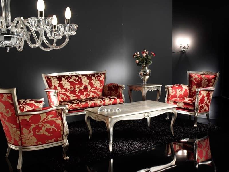 VENEZIA tavolino 8294T, Tavolino rettangolare in stile classico, foglia d'argento