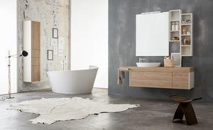Kami comp.08, Mobile bagno modulare con colonne portaoggetti