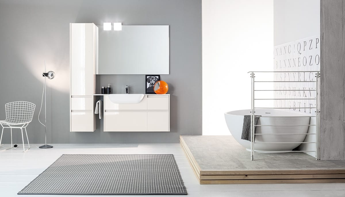 Mobile da bagno componibile con finiture lucide idfdesign for Arredo bagno componibile