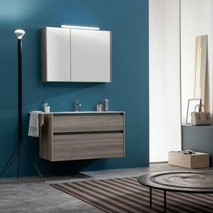 Kami comp.11, Mobile bagno con specchiera portaoggetti
