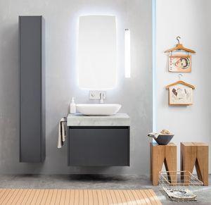 Kami comp.12, Mobile bagno modulare con colonna portaoggetti