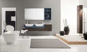 Kami comp.15, Mobile bagno componibile con doppio lavabo