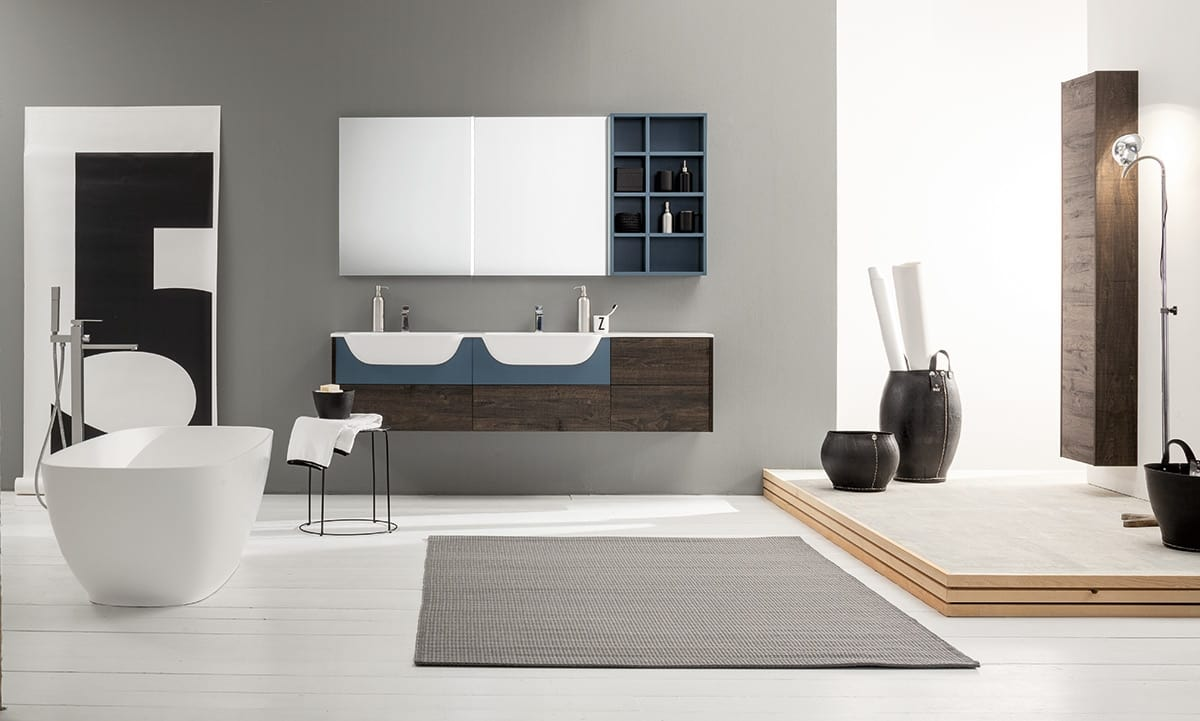 Mobile bagno componibile con doppio lavabo | IDFdesign