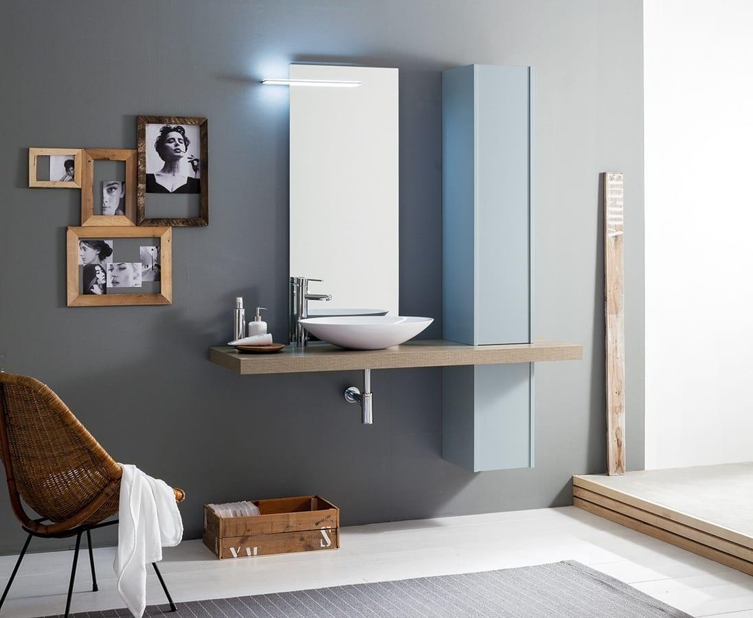 Set bagno con colonna e lavabo da appoggio idfdesign