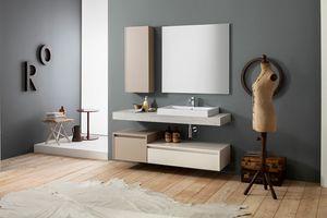 Kami comp.20, Mobile bagno a parete con colonna portaoggetti