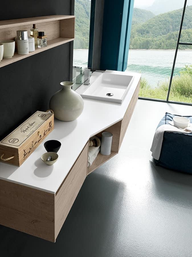 Mobili Bagno Linea Azzurra.Mobile Bagno Con Piano E Lavabo In Tecnoril Idfdesign