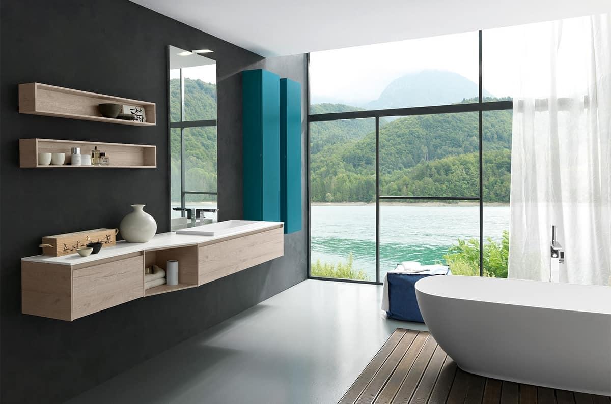 Mobile bagno con piano e lavabo in tecnoril idfdesign