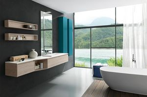 Lime 2.0 comp.03, Mobile bagno con piano e lavabo in Tecnoril