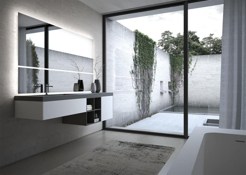 Arredo componibile per bagno con ampia specchiera idfdesign for Componibile bagno