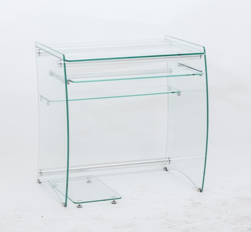 Scrivania porta pc in vetro trasparente idfdesign - Scrivania porta computer ikea ...