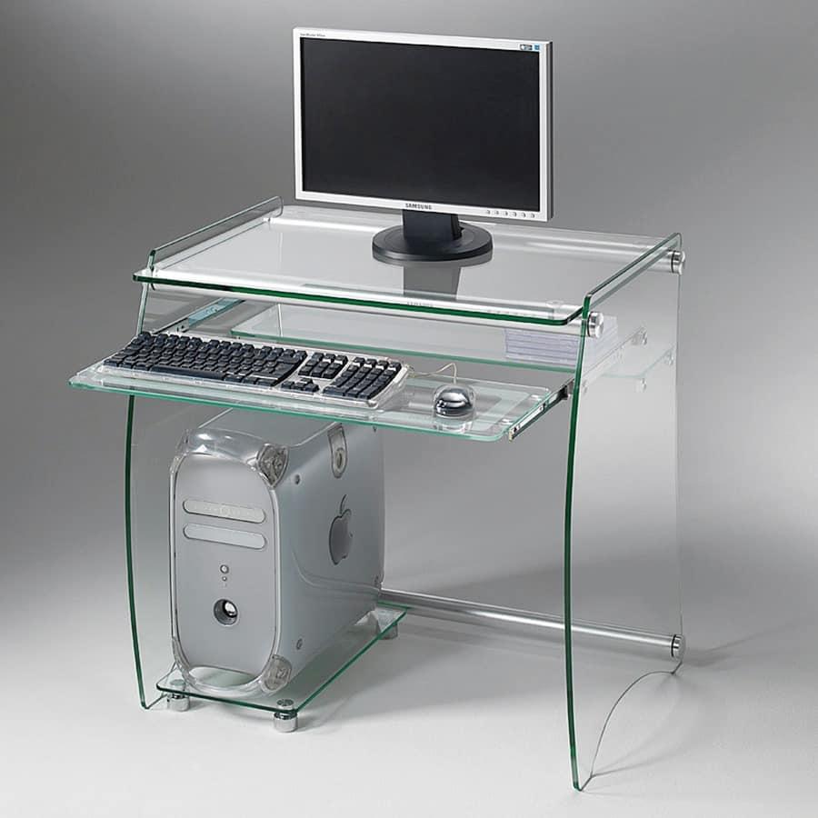 Art. 905 Rack, Scrivania porta PC, in vetro trasparente