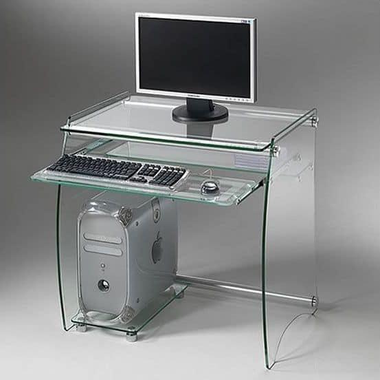 Clear PC01, Portacomputer in metallo con ripiani e portatastiera estraibile in vetro