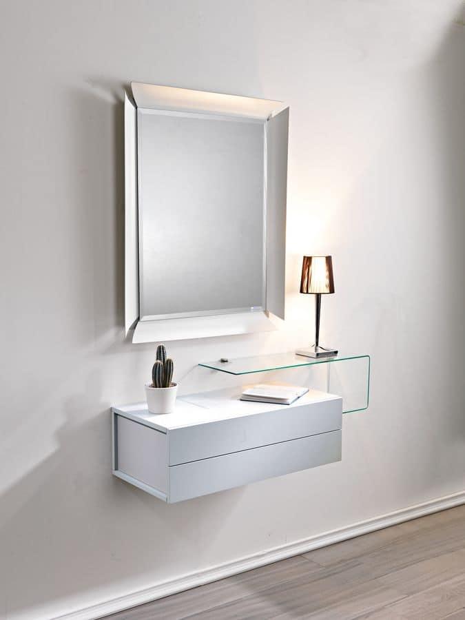 mensola per ingresso : Mobile ingresso con 2 cassetti, specchio e mensola in vetro - Prezzo ...