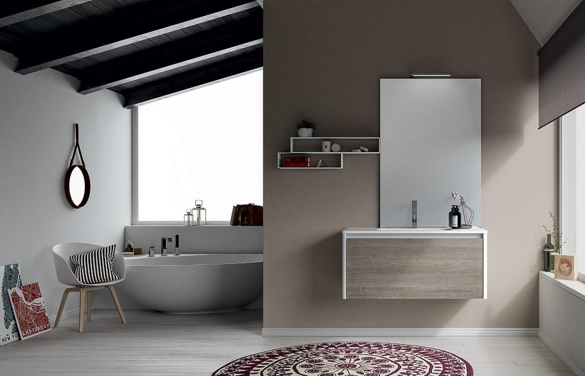 Composizione da bagno con mensole e mobile sospeso idfdesign