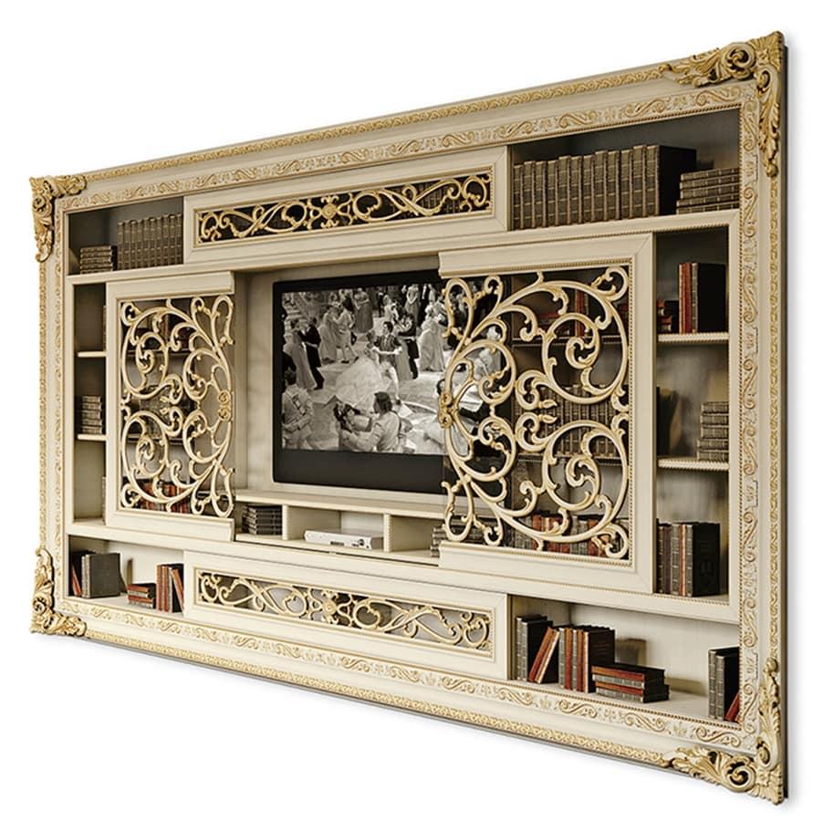 Libreria Ante Scorrevoli Vetro.Libreria Porta Tv Con Ante Scorrevoli Idfdesign