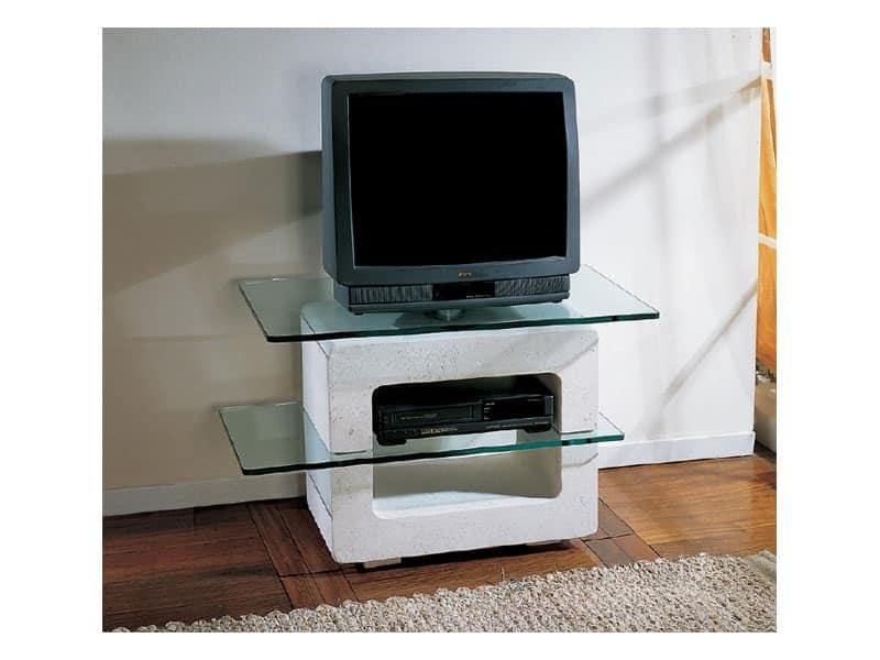Porta tv con struttura in pietra e piani in cristallo - Porta televisore in vetro ...