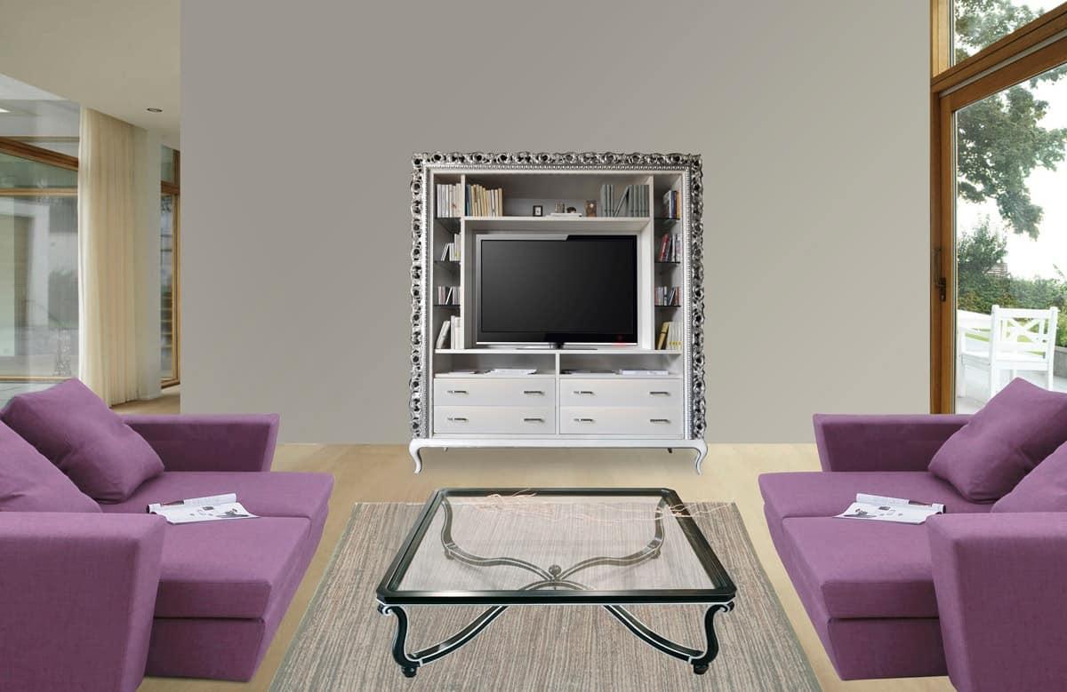 Art. 2410 Frida, Mobile tv classico, 4 cassetti e ripiani in cristallo