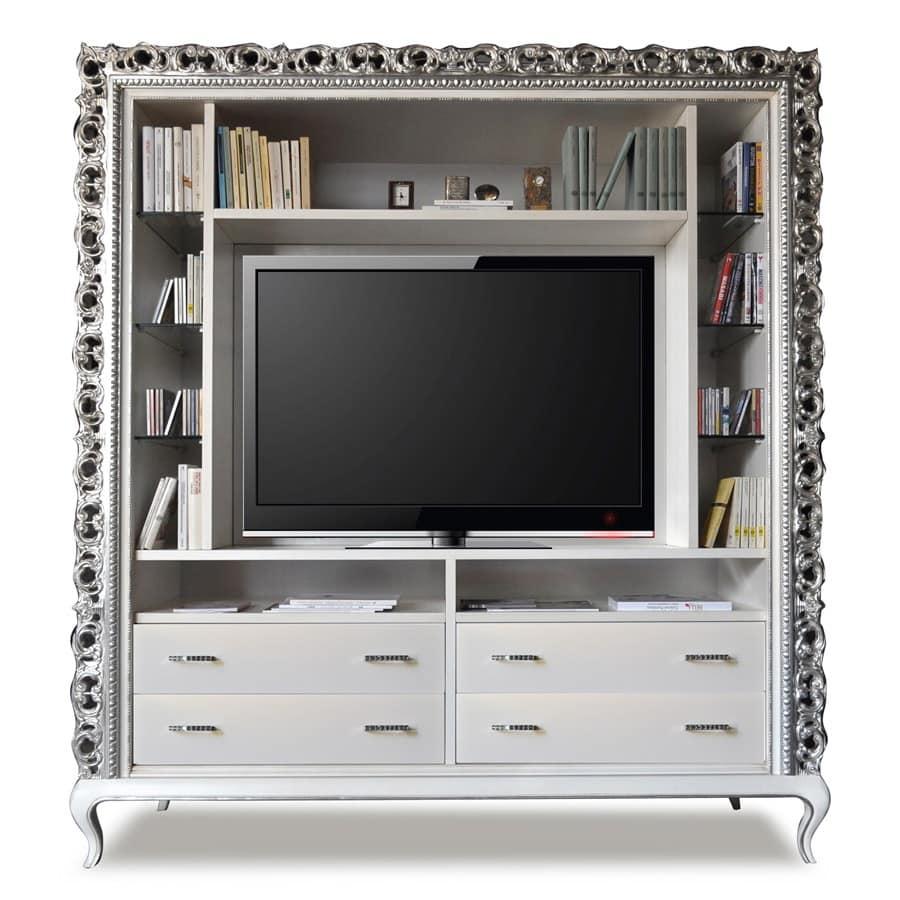 Mobile tv classico 4 cassetti e ripiani in cristallo for Mobil shop srl