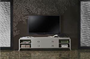 Art. VL143, Base porta tv in legno laccato, con cassetti