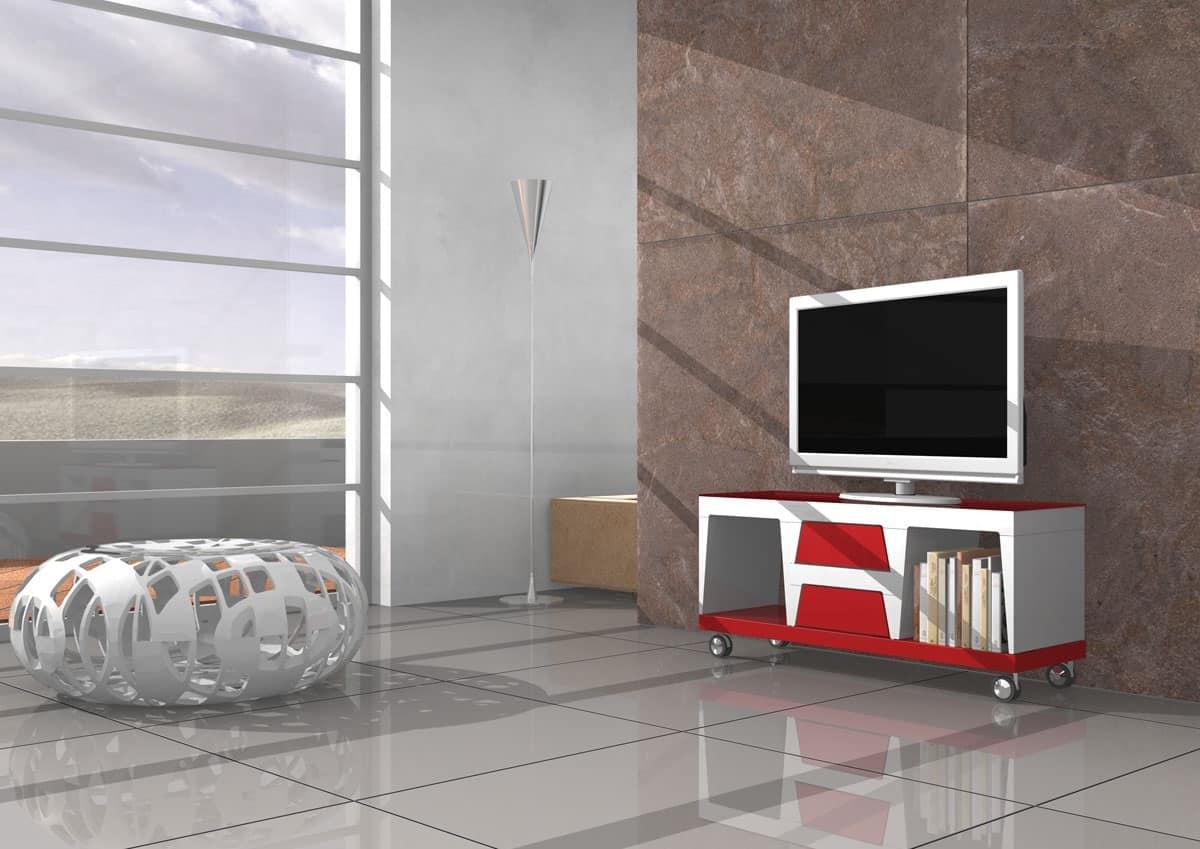 Mobile per televisore con ruote e cassetti idfdesign for Mobile con ruote