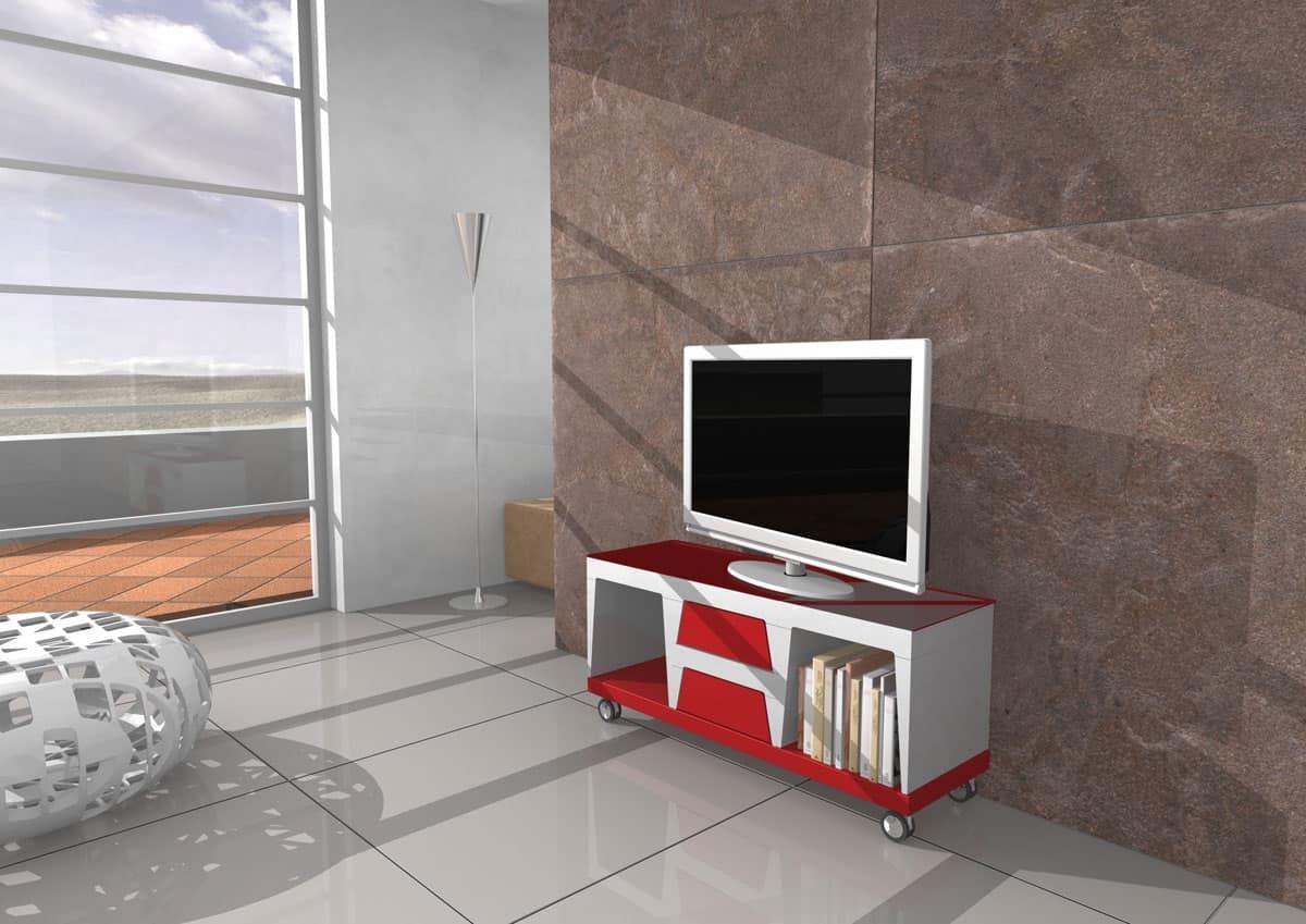 Mobile per televisore con ruote e cassetti  IDFdesign