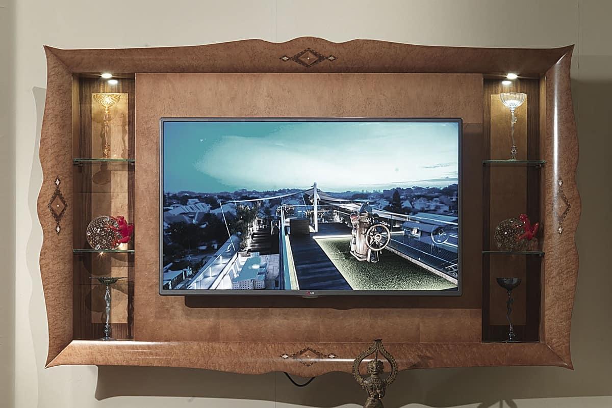 Porta Tv Pensile.Porta Tv Pensile In Legno Intarsiato Per Alberghi Di Lusso