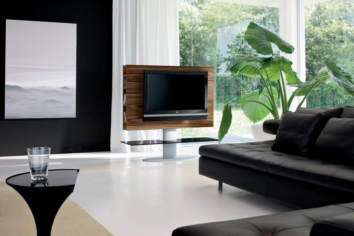 Mobile porta tv per salotto con piano portaoggetti idfdesign - Braccio mobile per tv ...