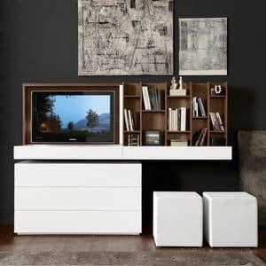 Double face porta TV, Porta TV, con apertura a ribalta e specchio scorrevole