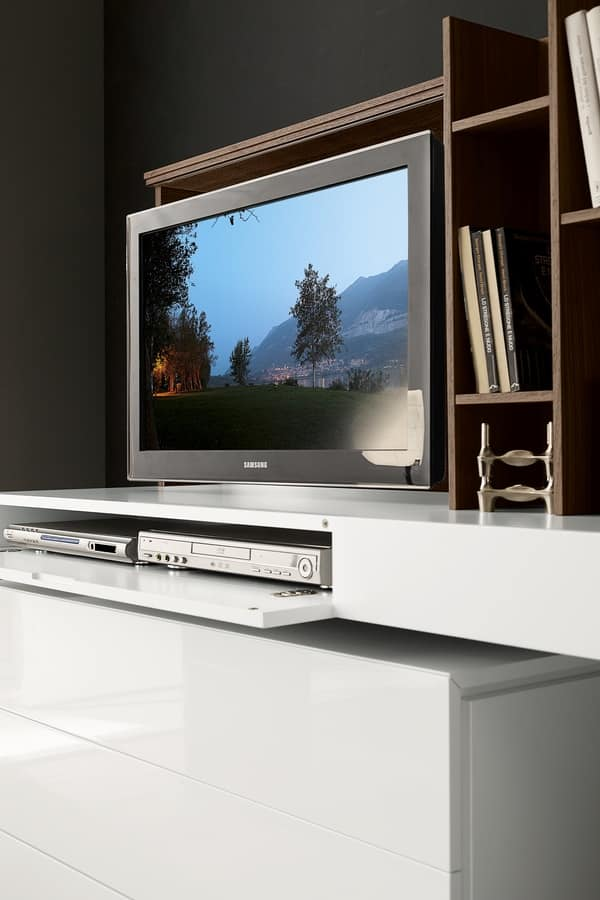 Porta tv con apertura a ribalta e specchio scorrevole - Porta specchio scorrevole ...