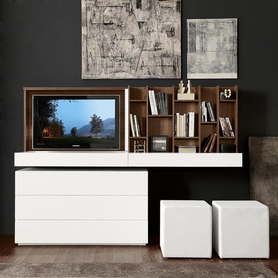 Porta tv con apertura a ribalta e specchio scorrevole - Specchio con tv ...