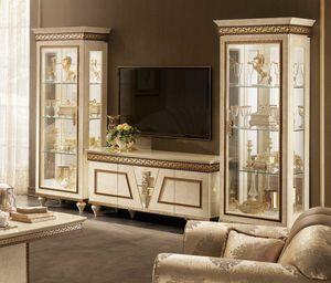 Fantasia TV set composizione, Mobile porta tv classico, con vetrine abbinate