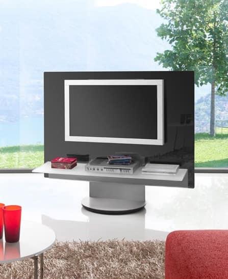 Pota tv girevole in acciaio laccato frontale in metacrilato idfdesign - Mobile porta tv girevole design ...