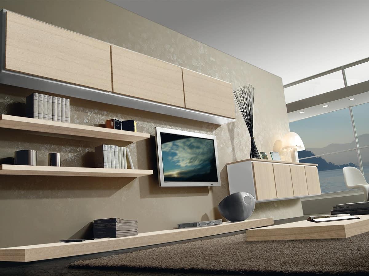 Arredamento modulare con mensole e mobili contenitori - Mensole modulari ...