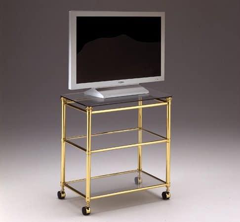 Carrello porta tv per salotti in ottone e cristallo idfdesign - Mobili porta tv in vetro ...