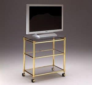 IONICA 678, Carrello porta TV per salotti, in ottone e cristallo