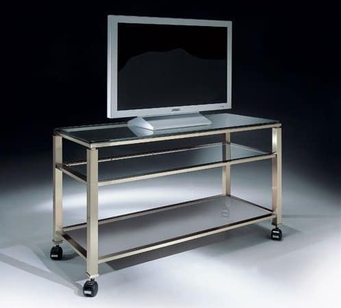 MADISON 3280, Porta TV con ruote e piano in vetro, per salotto moderno
