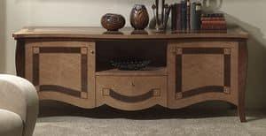 MB56 Charme, Porta tv in legno intarsiato, per alberghi e ville