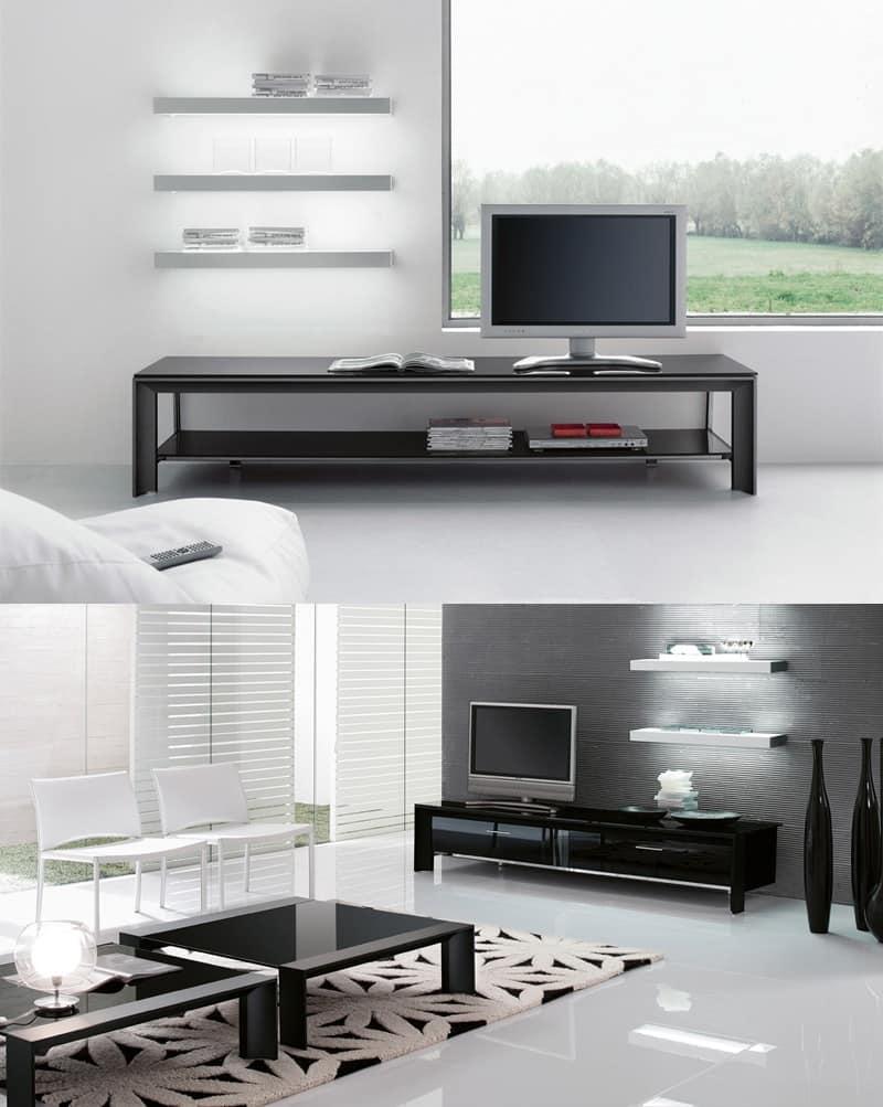 MIAMI porta tv, Mobile porta-TV per soggiorno, struttura in metallo