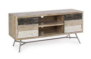 Mobile basso 2A Leiston, Mobile basso porta tv, in legno
