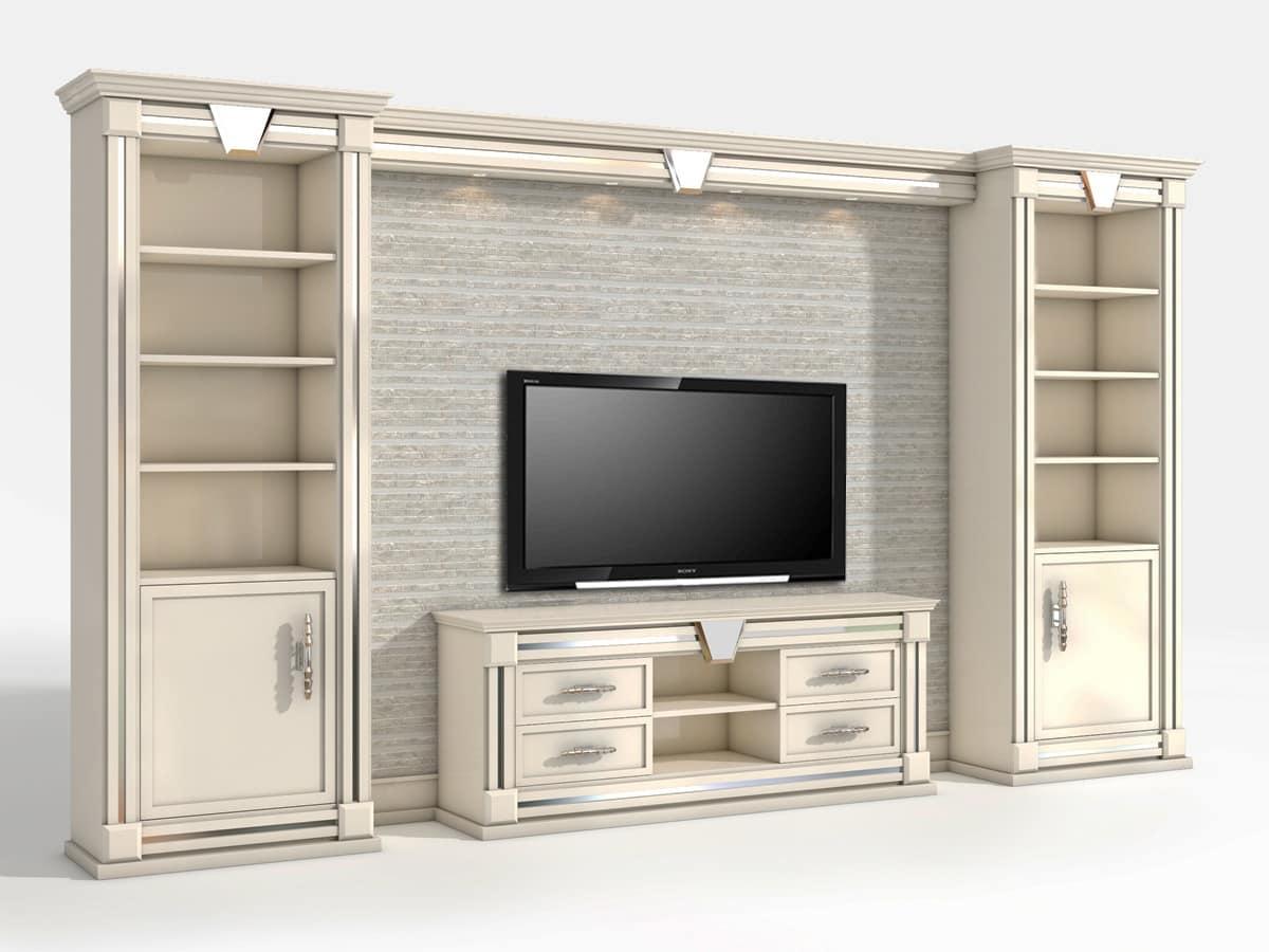 Parete tv in stile classico contemporaneo idfdesign - Porta tv classico ...